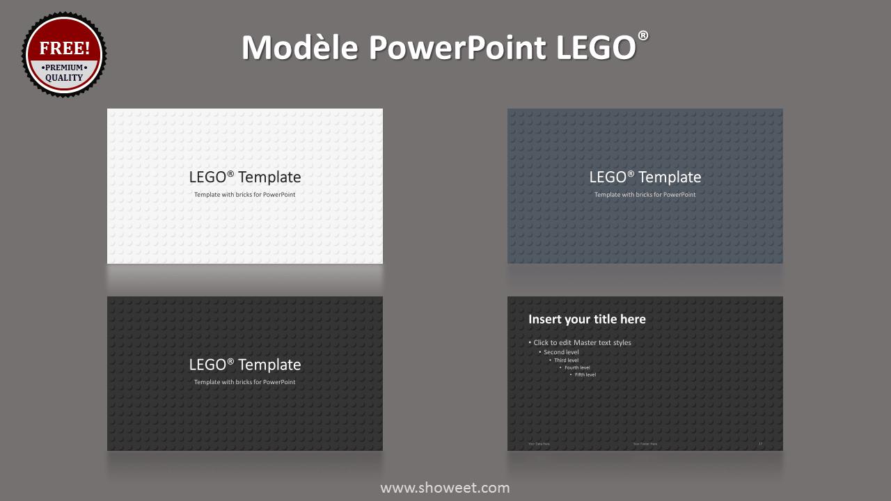 Modèle PowerPoint LEGO - Fond avec plaque LEGO