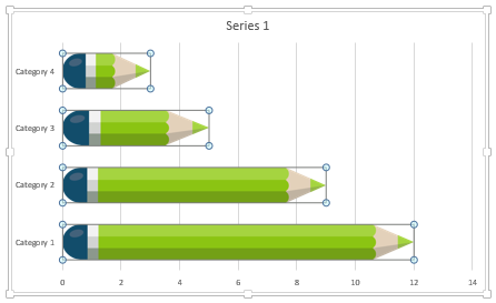 Data-driven PowerPoint charts - Not Distorted pencil shapes