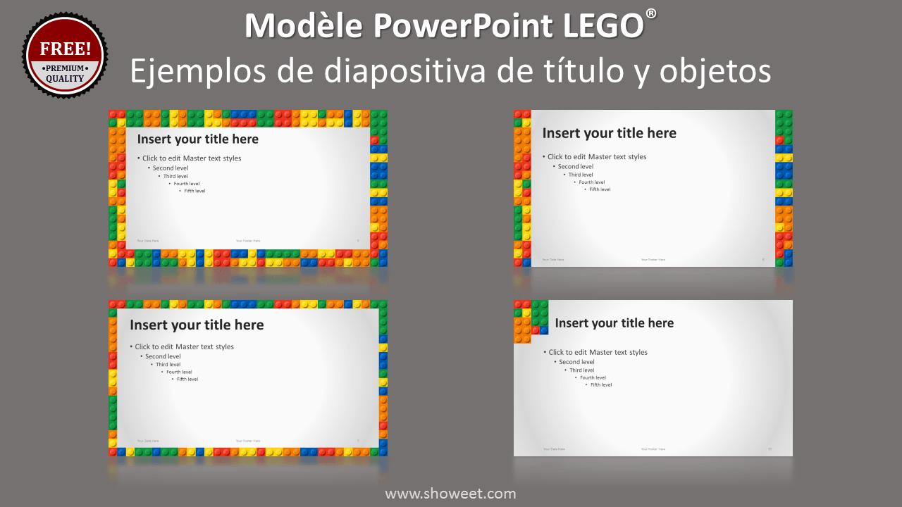 Plantilla Gratis PowerPoint Lego con diapositivas de título y objetos