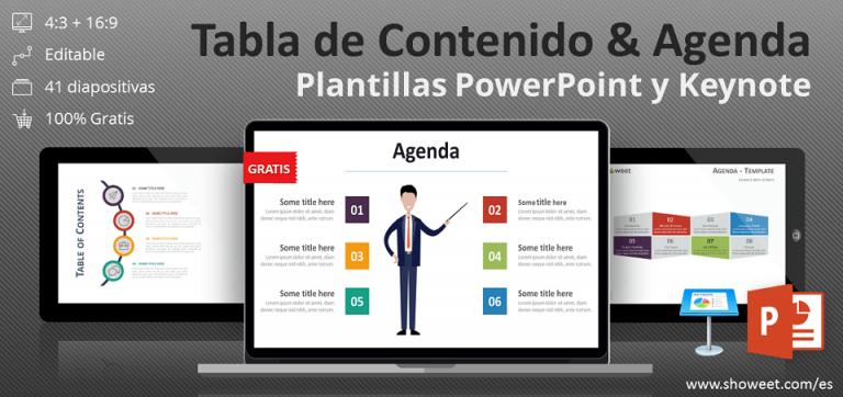 Colección gratuita de tabla de contenido y plantillas del programa tipo agenda para PowerPoint y Keynote
