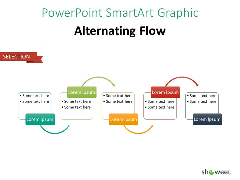 PowerPoint SmarArt Graphic - Alternating Flow