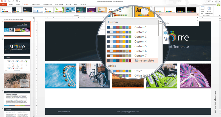 PowerPoint free theme comes with a custom color palette