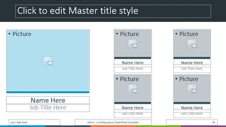 PowerPoint template built with ready-to-use image placeholders - Drag and Drop ready