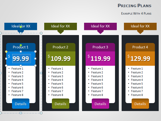 Pricing tables for powerpoint for Table design ppt
