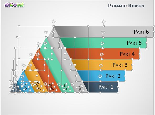 Diagrama Pirámides con Cintas PowerPoint - editable