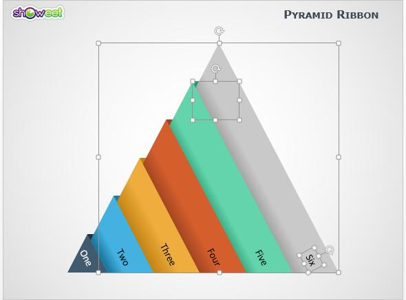 Diagrama Pirámides con Cintas PowerPoint - suprimir niveles