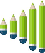 5 different pencil sizes per color and design