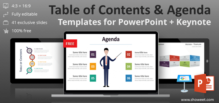 table of content templates for powerpoint and keynote, Powerpoint templates