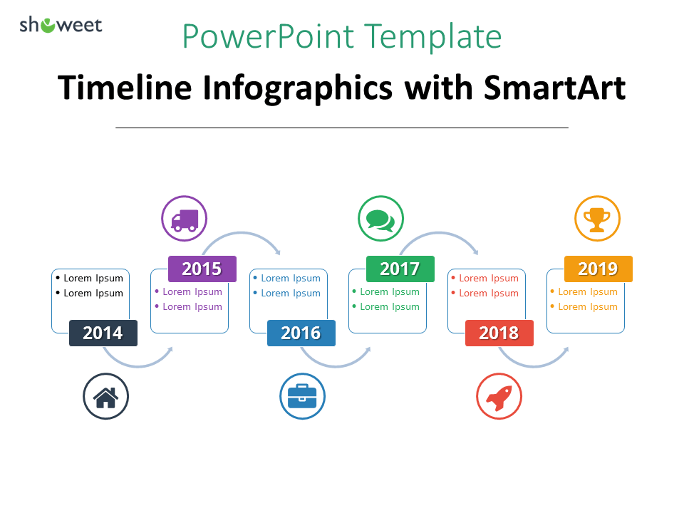 another example of timeline infographics for powerpoint using smartart alternating flow