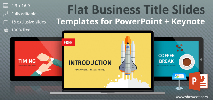 Free collection of PowerPoint and Keynote flat business title slide templates