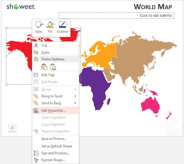 Mapa del mundo PowerPoint con enlaces de hipertexto