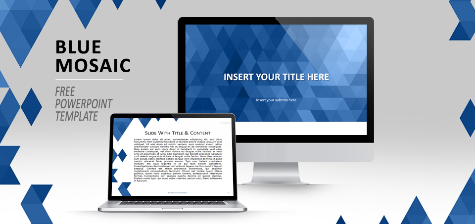 blue mosaic powerpoint template