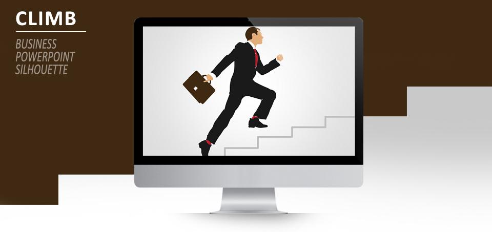 Businessman climbing for PowerPoint