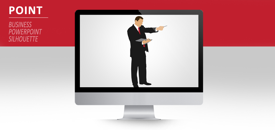 businessman pointing silhouette for powerpoint