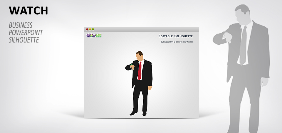 Businessman with watch for PowerPoint