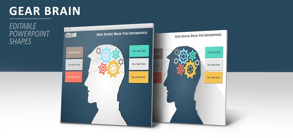 Gear brain PowerPoint diagram