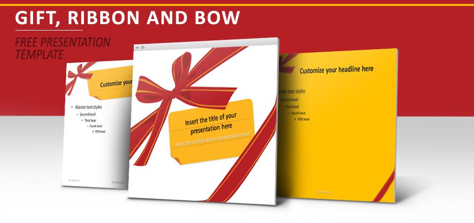 cadeau  ruban et noeud  u2013 mod u00e8le pour powerpoint et impress