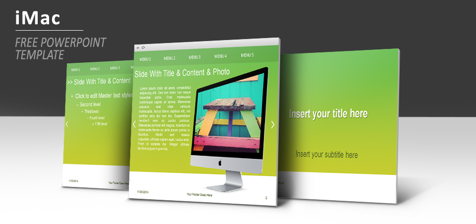 imac with green background powerpoint template