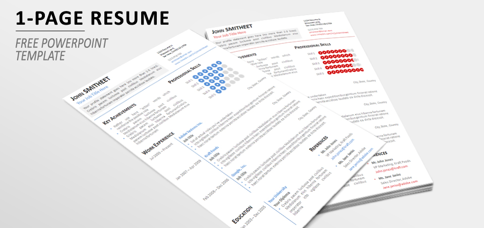 1 page minimalist resumecv template for powerpoint toneelgroepblik Gallery