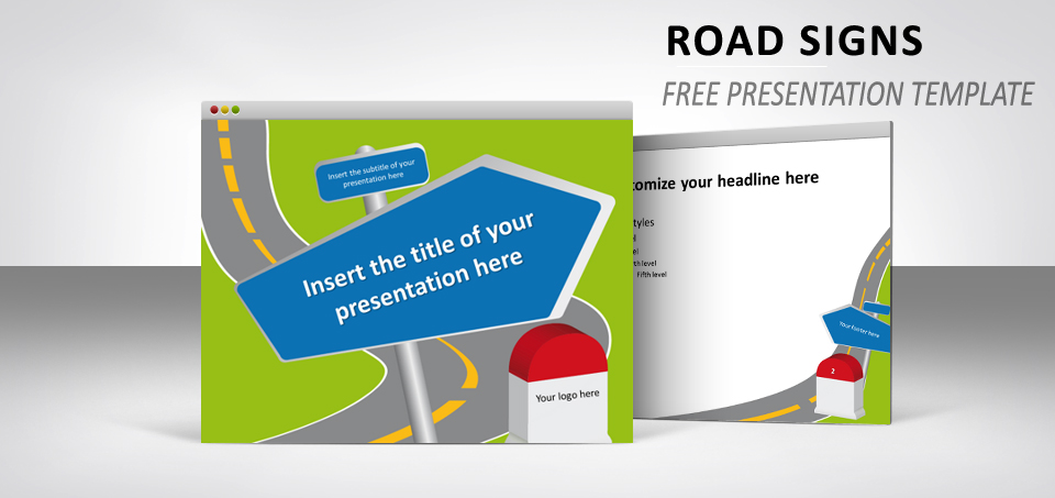 Road Signs Free Template For PowerPoint And Impress