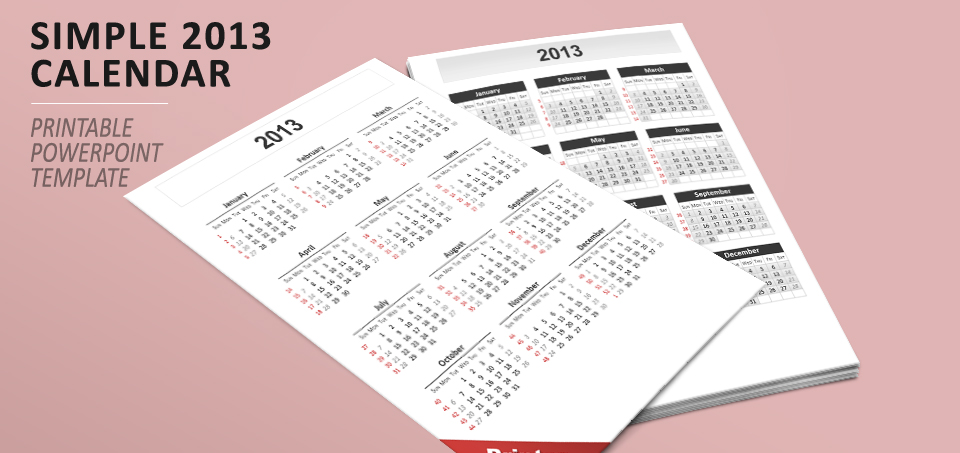 Simple calendar 2013 for powerpoint toneelgroepblik Choice Image