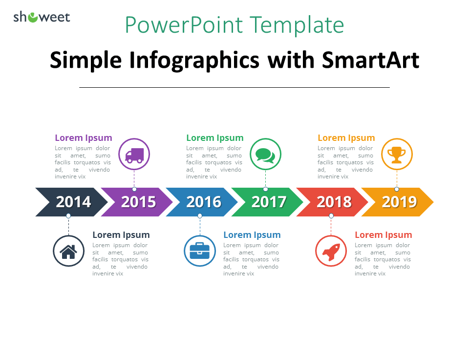 example of simple timeline template using smartart graphics