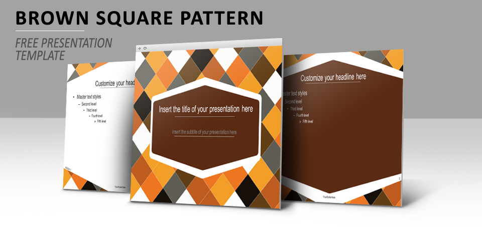 brown squared pattern  u2013 powerpoint and impress template