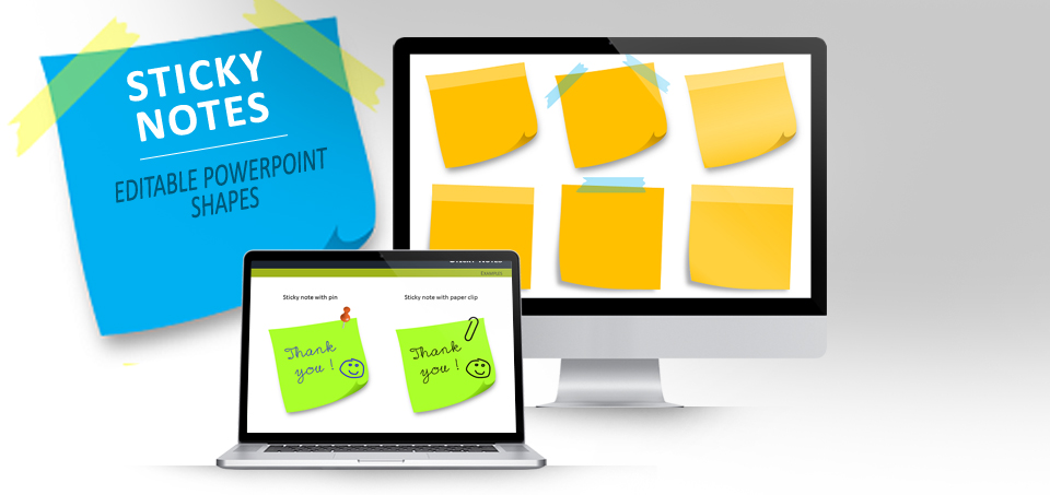 Sticky Notes With Pins For Powerpoint