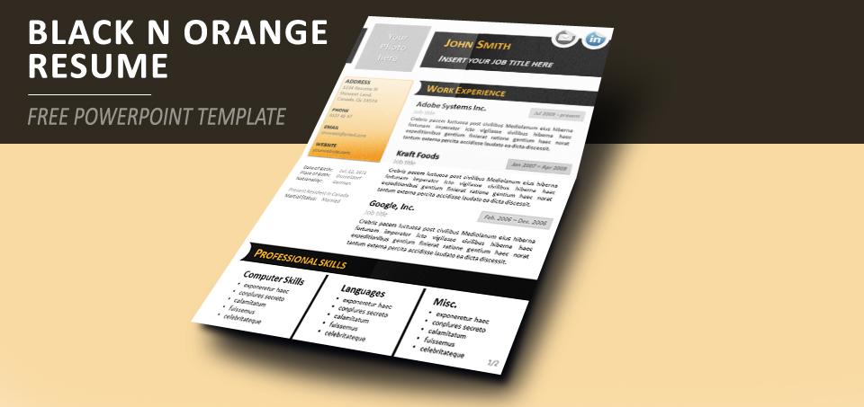 mod u00e8le noir  u0026 orange de curriculum vitae pour powerpoint