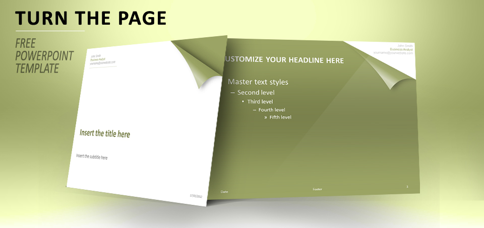Turn the page green PowerPoint template