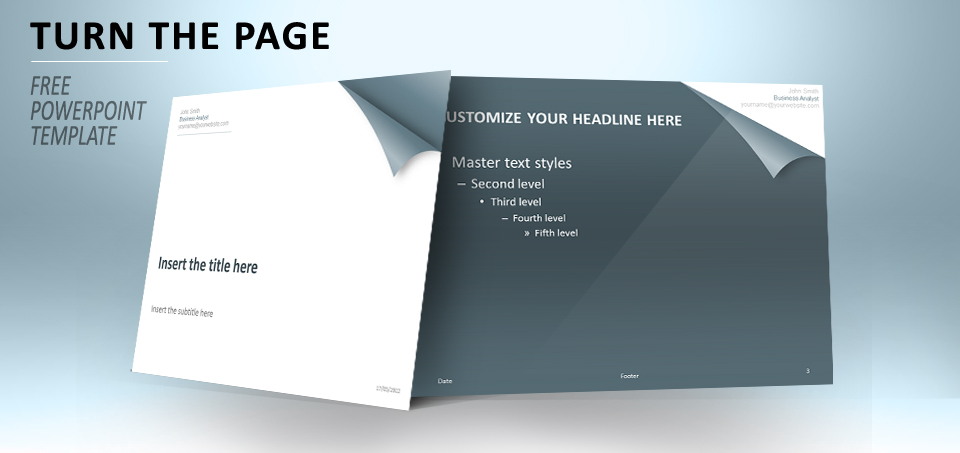 Turn the page blue PowerPoint template