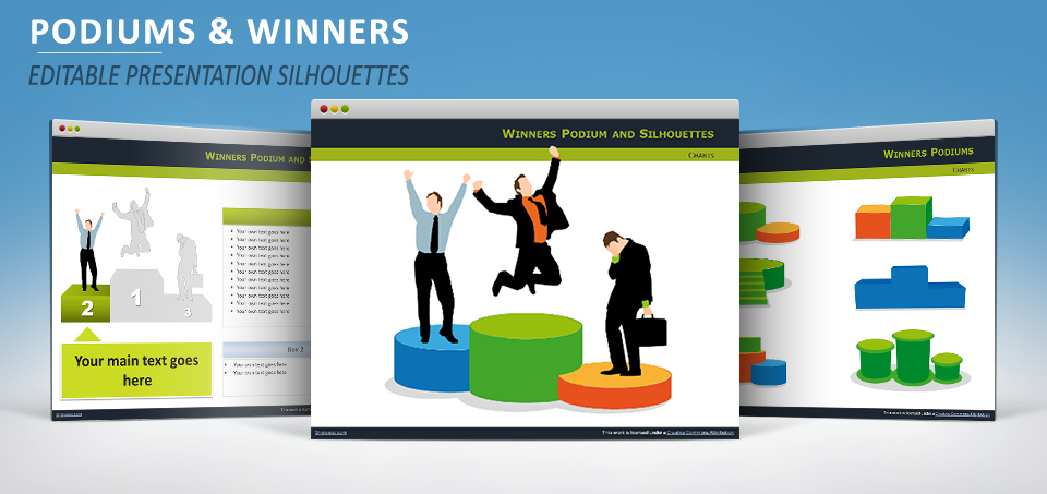 podiums with silhouettes for powerpoint and impress